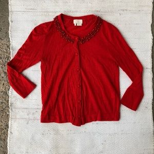 Red Kate Spade button up beaded cardigan